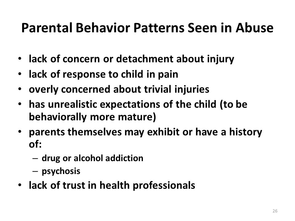 Parental Behavior Patterns Seen in Abuse