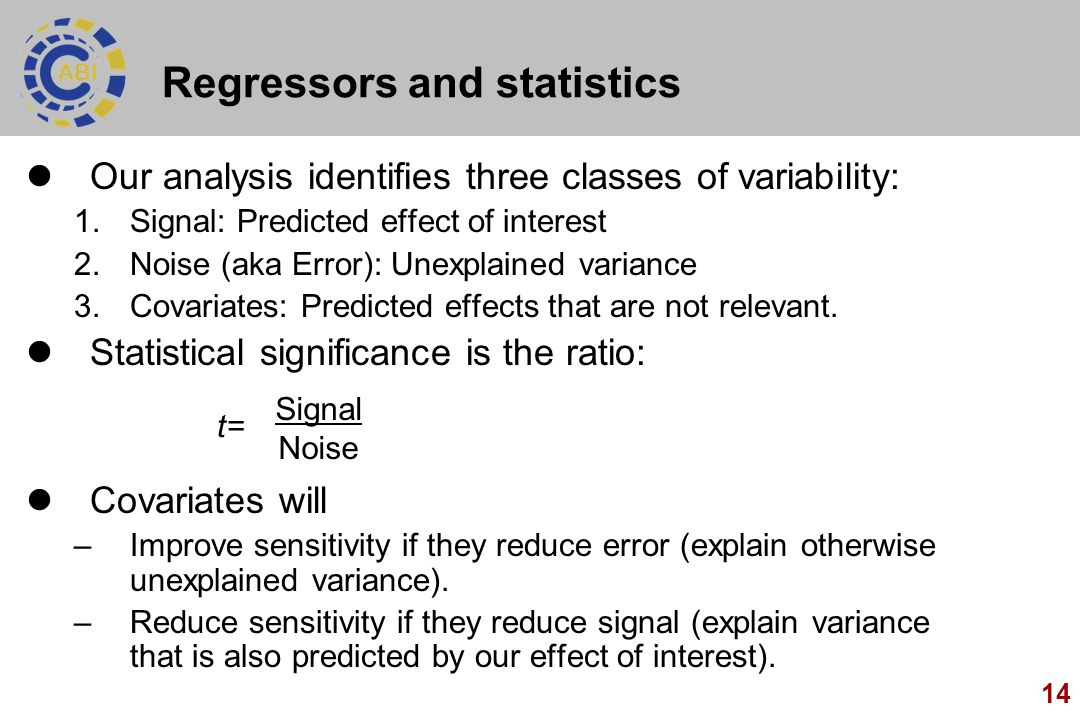 Regressors and statistics