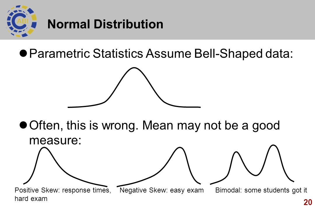 Parametric Statistics Assume Bell-Shaped data: