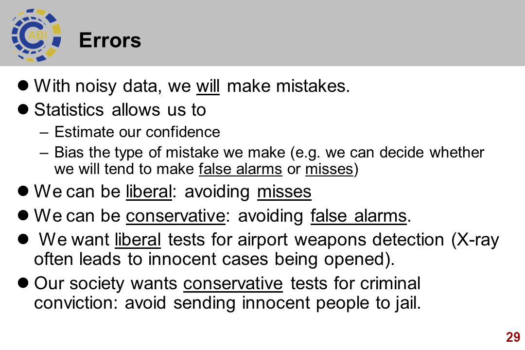 Errors With noisy data, we will make mistakes. Statistics allows us to