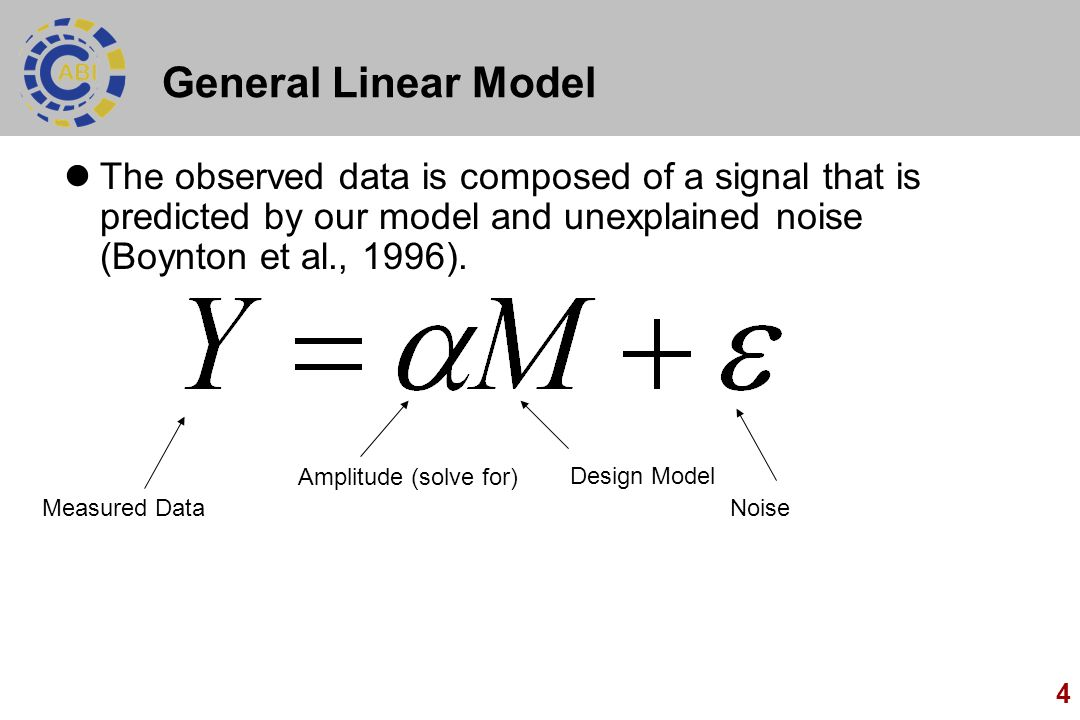 General Linear Model The observed data is composed of a signal that is predicted by our model and unexplained noise (Boynton et al., 1996).