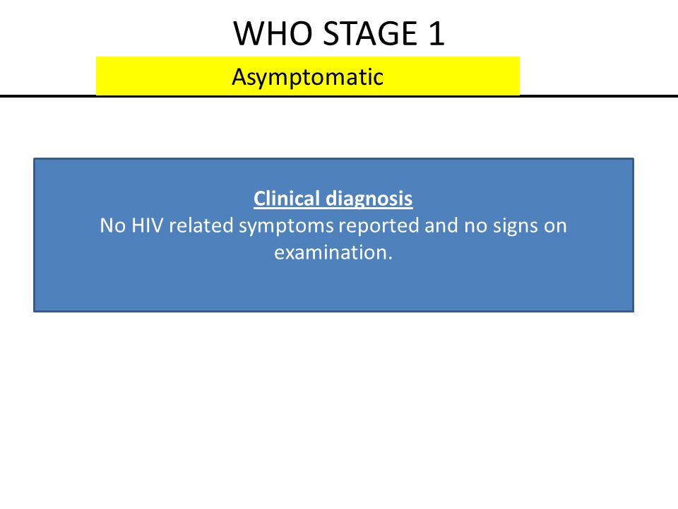 No HIV related symptoms reported and no signs on examination.