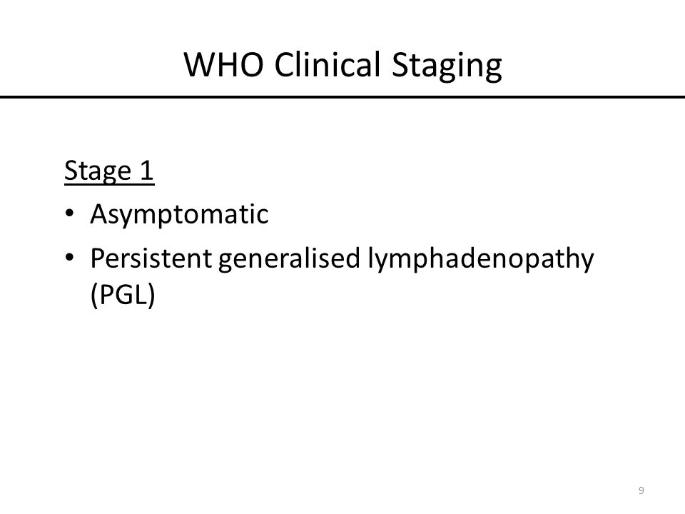 WHO Clinical Staging Stage 1 Asymptomatic