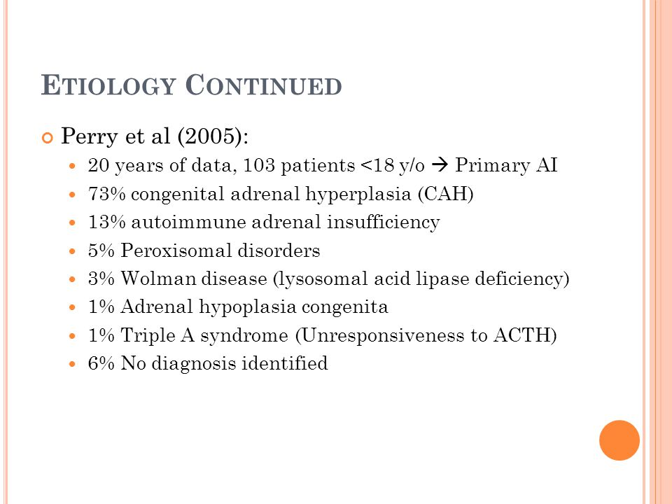 Etiology Continued Perry et al (2005):