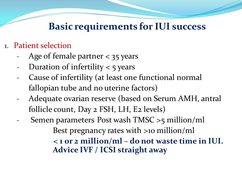 Basic requirements for IUI success