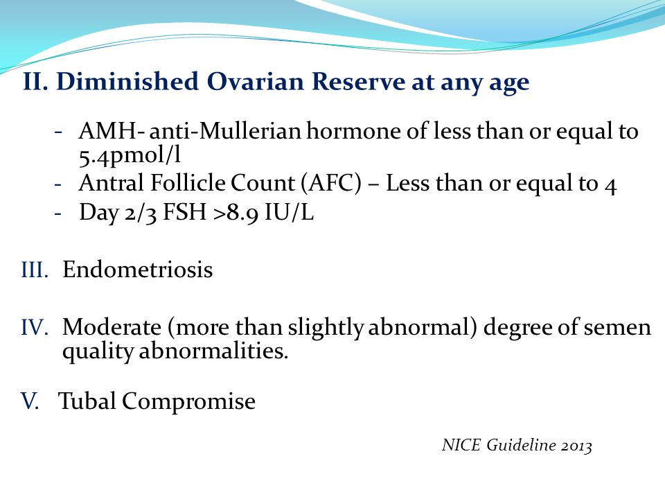 II. Diminished Ovarian Reserve at any age