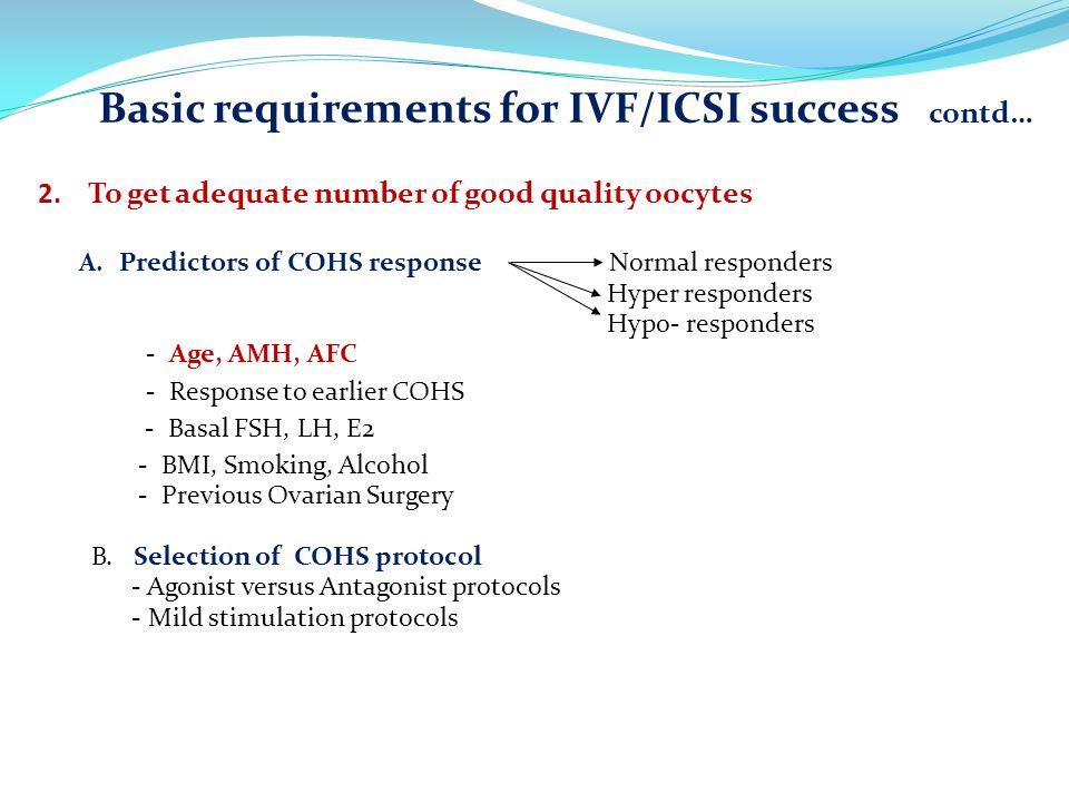 Basic requirements for IVF/ICSI success contd…