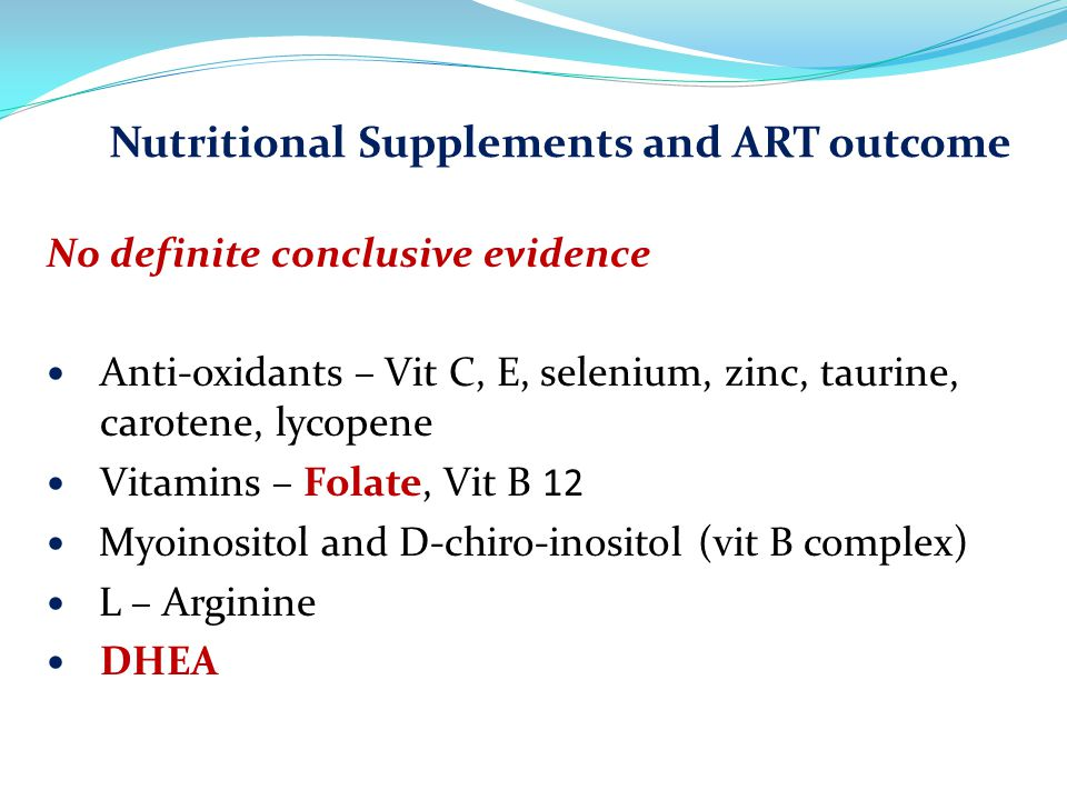 Nutritional Supplements and ART outcome