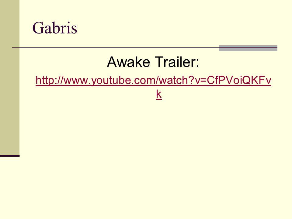 Gabris Awake Trailer: http://www.youtube.com/watch v=CfPVoiQKFvk