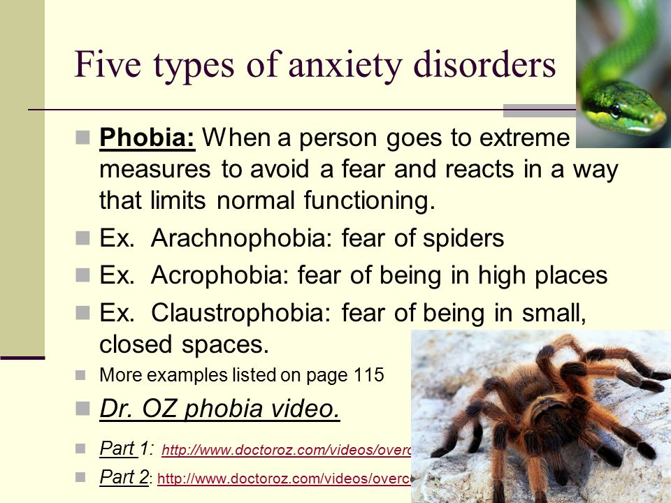 Five types of anxiety disorders