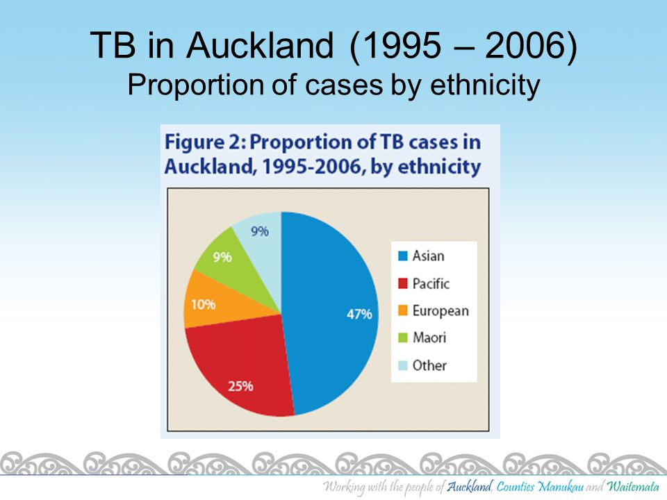 TB in Auckland (1995 – 2006) Proportion of cases by ethnicity