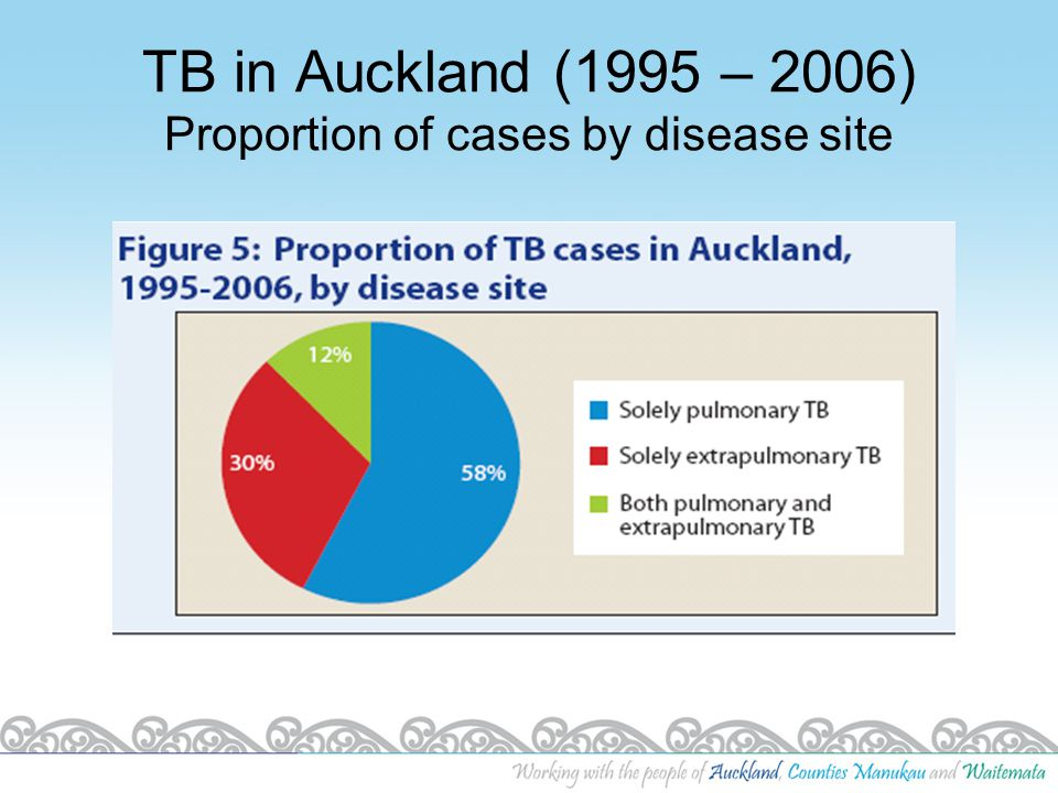 TB in Auckland (1995 – 2006) Proportion of cases by disease site