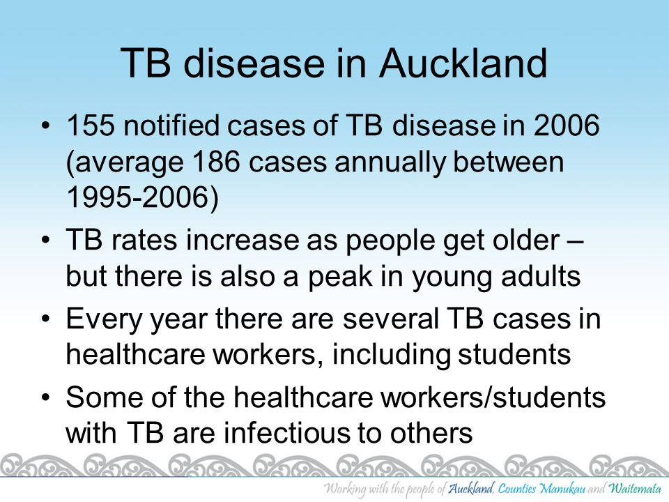 TB disease in Auckland 155 notified cases of TB disease in 2006 (average 186 cases annually between 1995-2006)