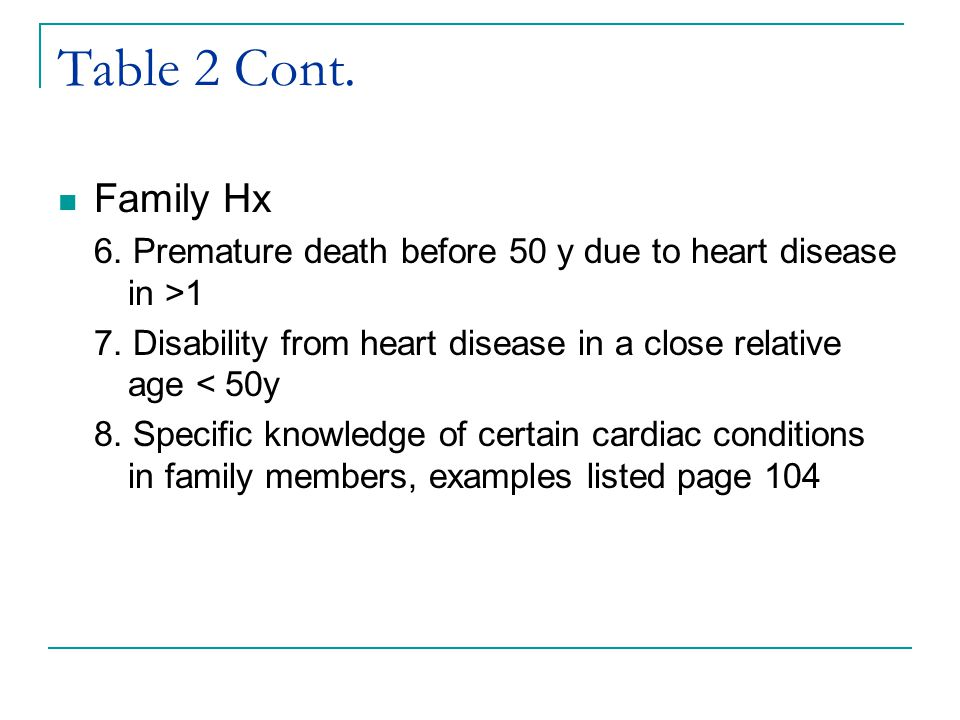 Table 2 Cont. Family Hx. 6. Premature death before 50 y due to heart disease in >1. 7. Disability from heart disease in a close relative age < 50y.