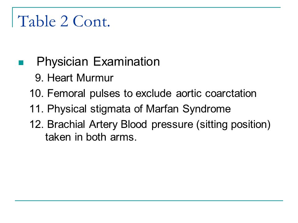 Table 2 Cont. Physician Examination 9. Heart Murmur