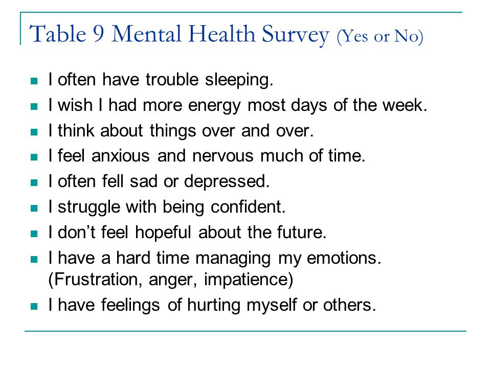 Table 9 Mental Health Survey (Yes or No)