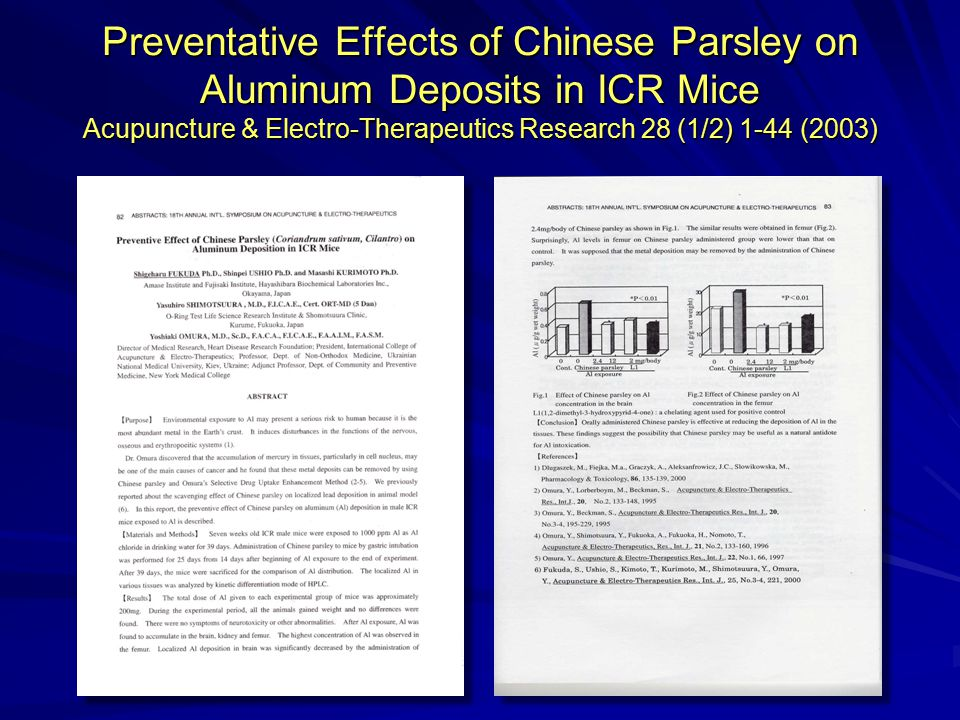 Preventative Effects of Chinese Parsley on Aluminum Deposits in ICR Mice Acupuncture & Electro-Therapeutics Research 28 (1/2) 1-44 (2003)