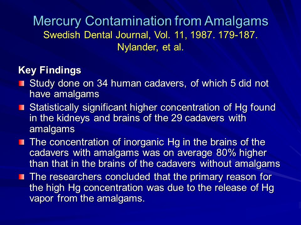 Mercury Contamination from Amalgams Swedish Dental Journal, Vol