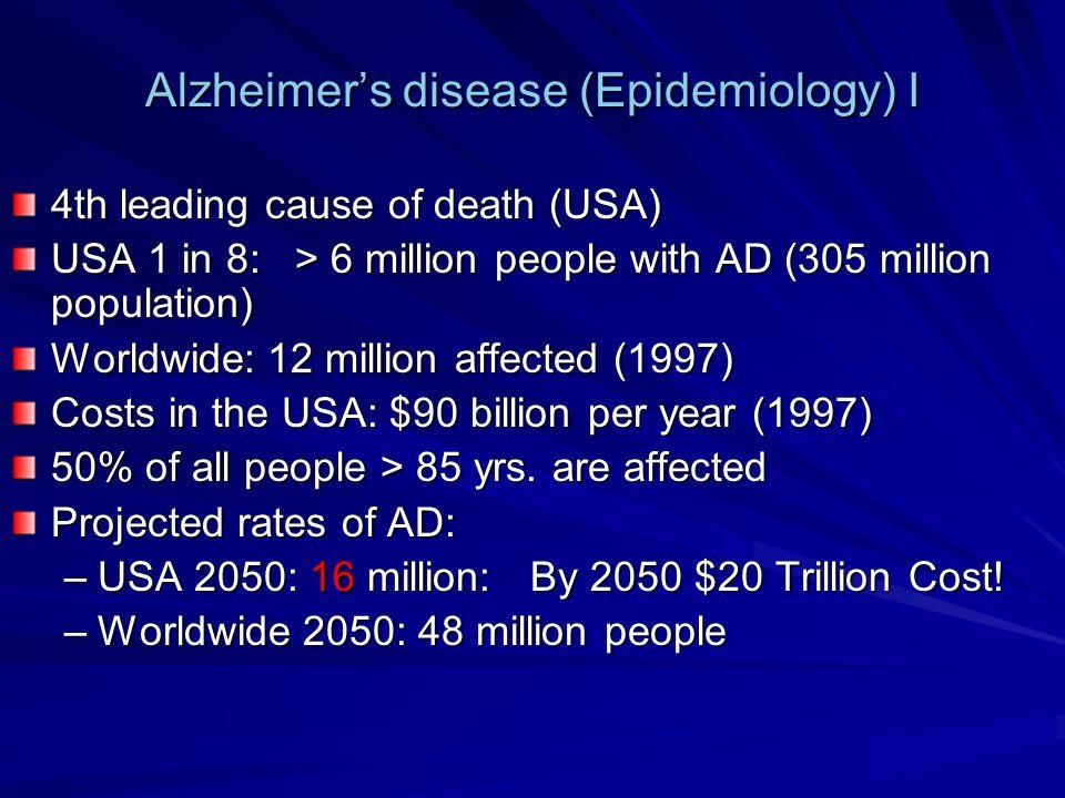 Alzheimer's disease (Epidemiology) I
