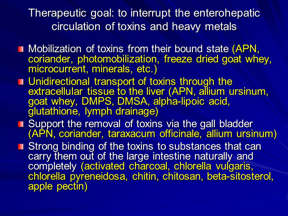 Therapeutic goal: to interrupt the enterohepatic circulation of toxins and heavy metals