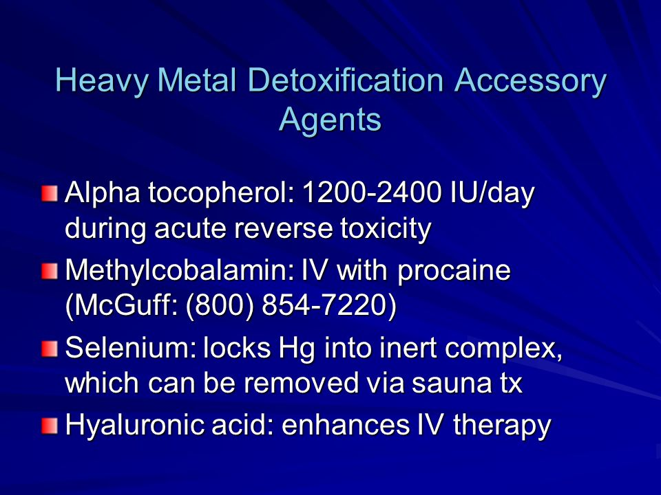 Heavy Metal Detoxification Accessory Agents