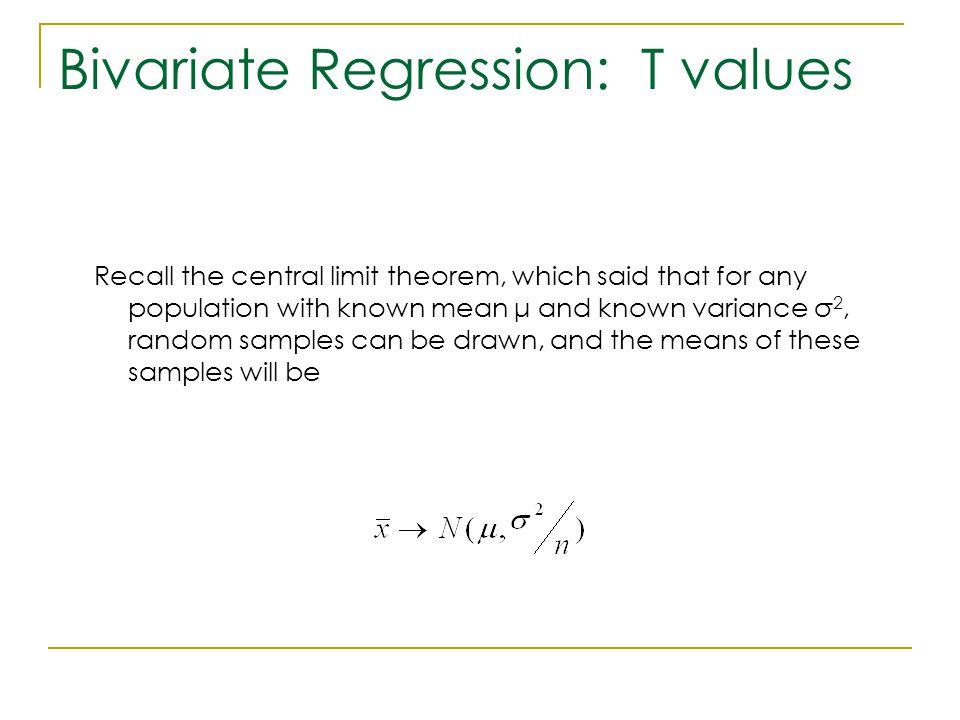 Bivariate Regression: T values