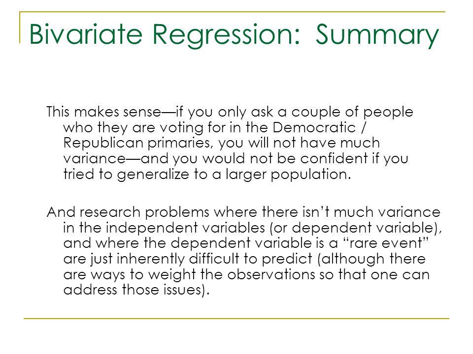 Bivariate Regression: Summary