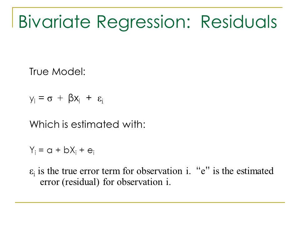Bivariate Regression: Residuals