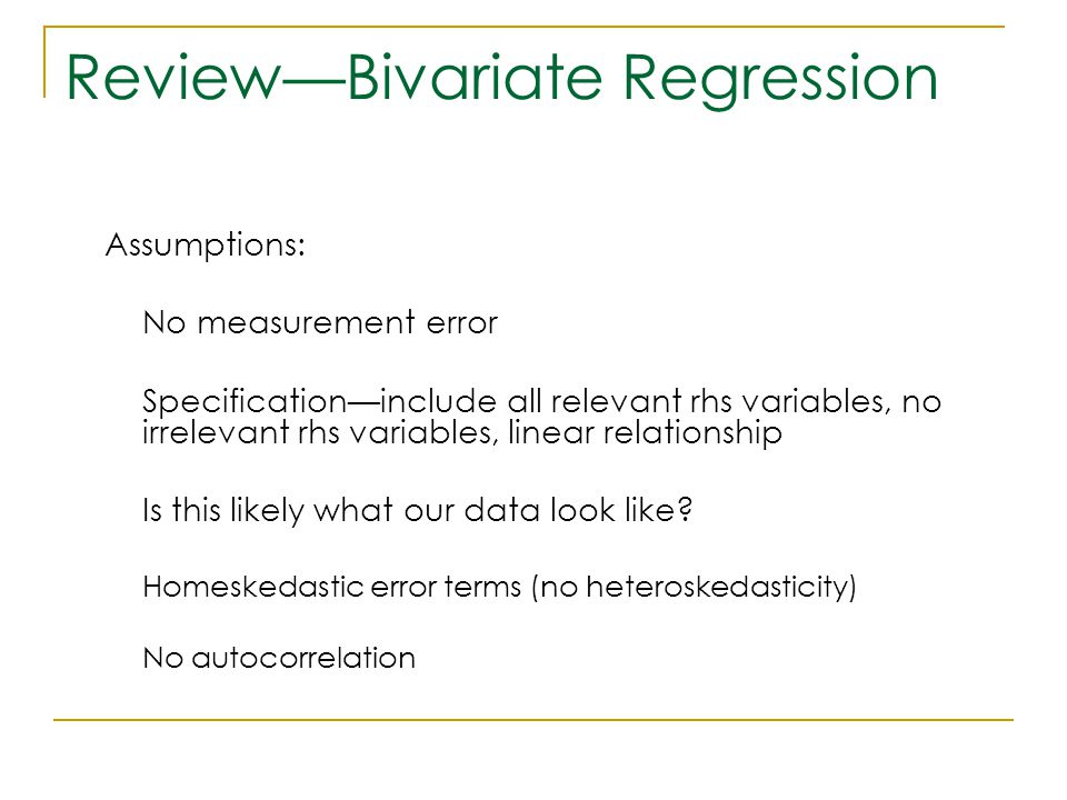 Review—Bivariate Regression