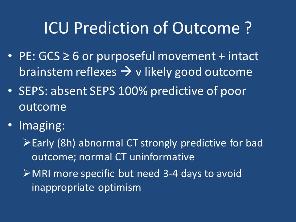 ICU Prediction of Outcome