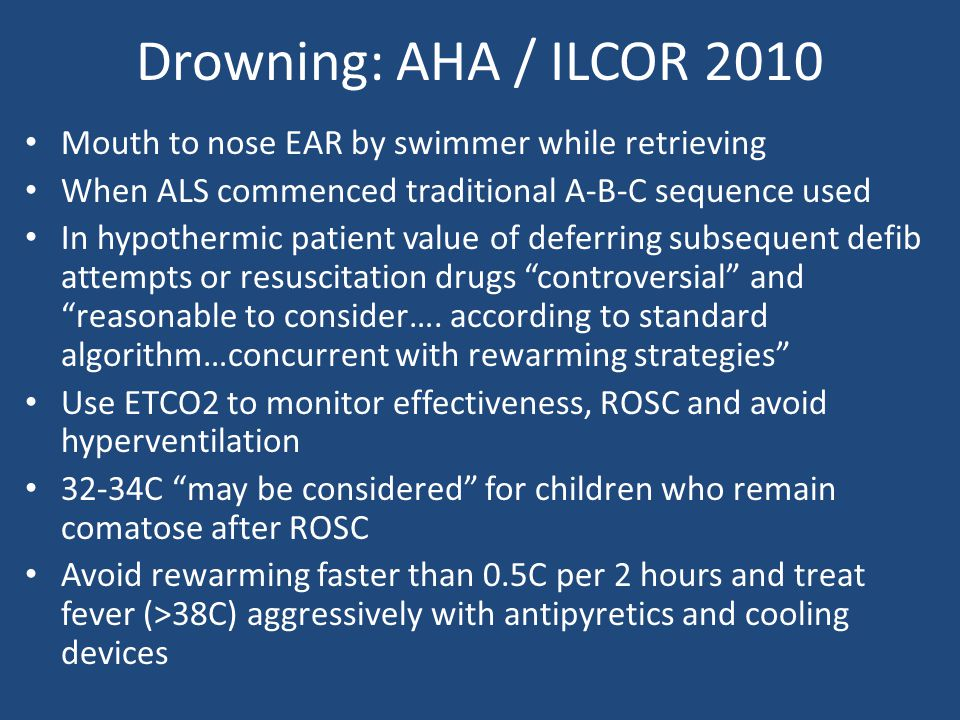 Drowning: AHA / ILCOR 2010 Mouth to nose EAR by swimmer while retrieving. When ALS commenced traditional A-B-C sequence used.