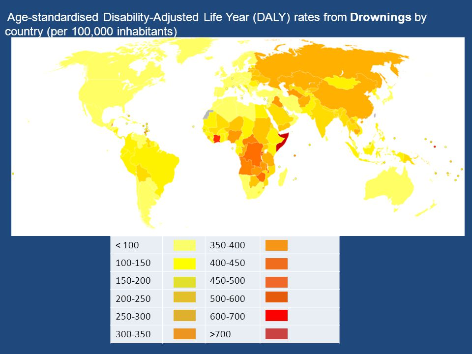 Age-standardised Disability-Adjusted Life Year (DALY) rates from Drownings by country (per 100,000 inhabitants)