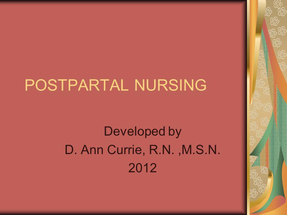 Developed by D. Ann Currie, R.N. ,M.S.N. 2012