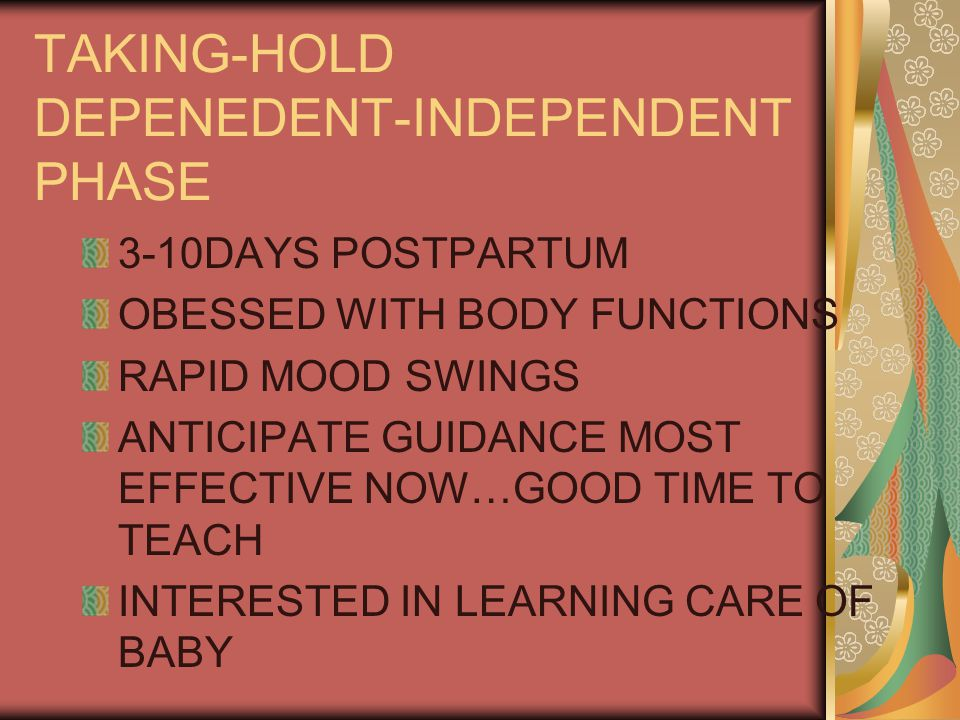 TAKING-HOLD DEPENEDENT-INDEPENDENT PHASE