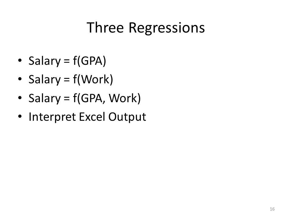 Three Regressions Salary = f(GPA) Salary = f(Work)