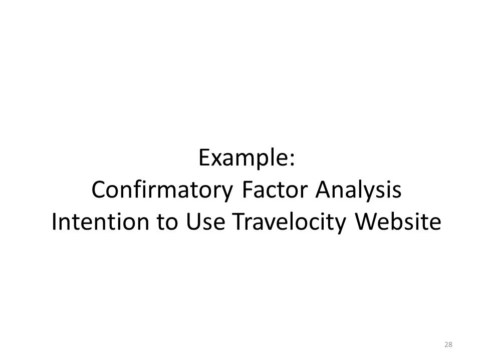 Example: Confirmatory Factor Analysis Intention to Use Travelocity Website
