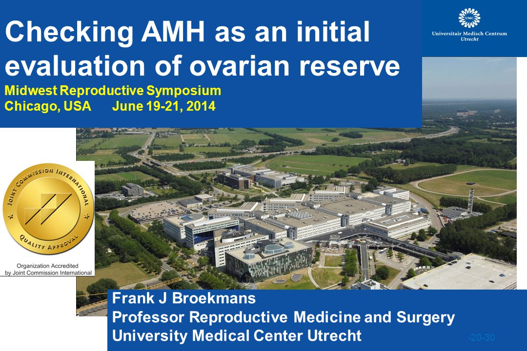 Checking AMH as an initial evaluation of ovarian reserve Midwest Reproductive Symposium Chicago, USA June 19-21, 2014