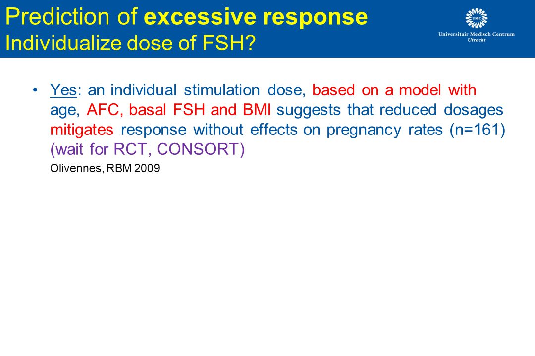 Prediction of excessive response Individualize dose of FSH
