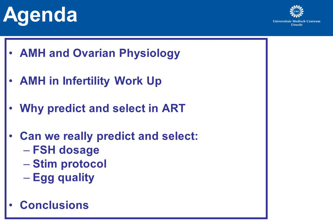 Agenda AMH and Ovarian Physiology AMH in Infertility Work Up