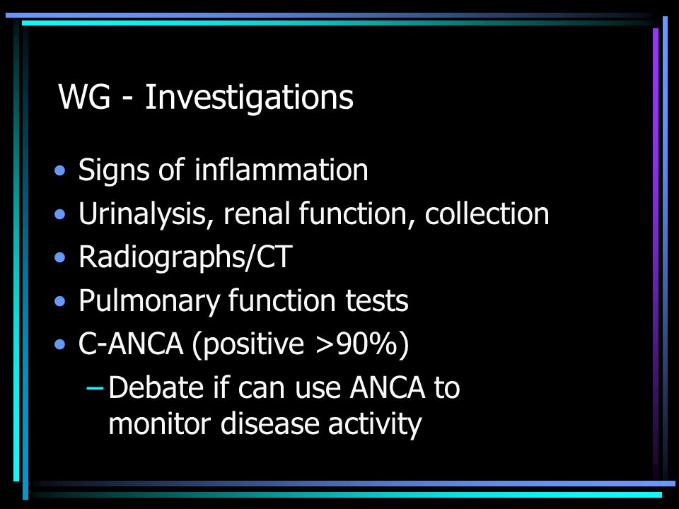 WG - Investigations Signs of inflammation