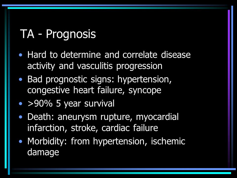 TA - Prognosis Hard to determine and correlate disease activity and vasculitis progression.
