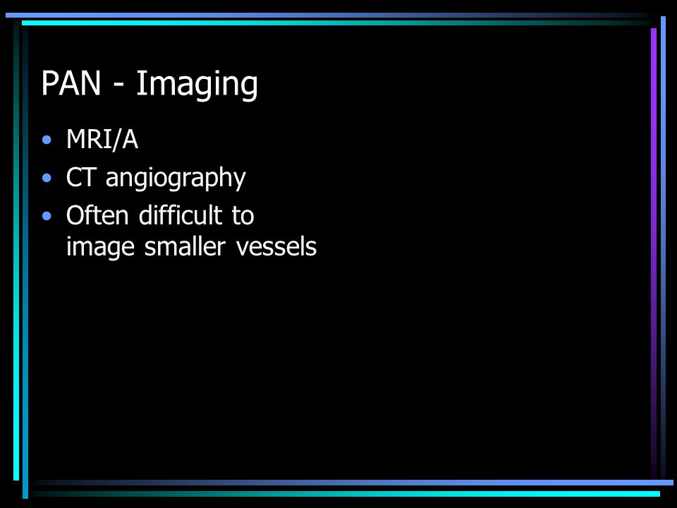 PAN - Imaging MRI/A CT angiography