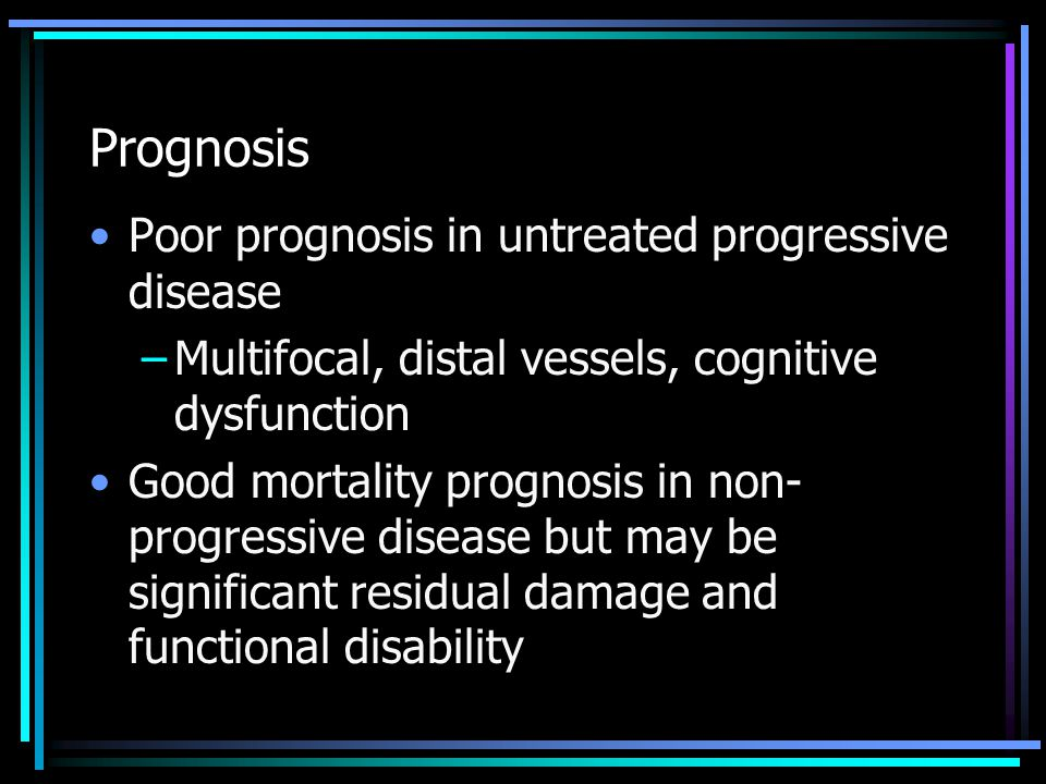 Prognosis Poor prognosis in untreated progressive disease
