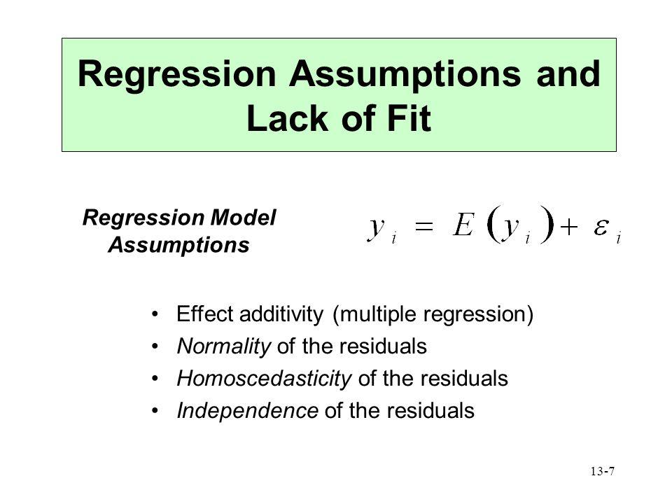 Regression Assumptions and Lack of Fit Regression Model Assumptions