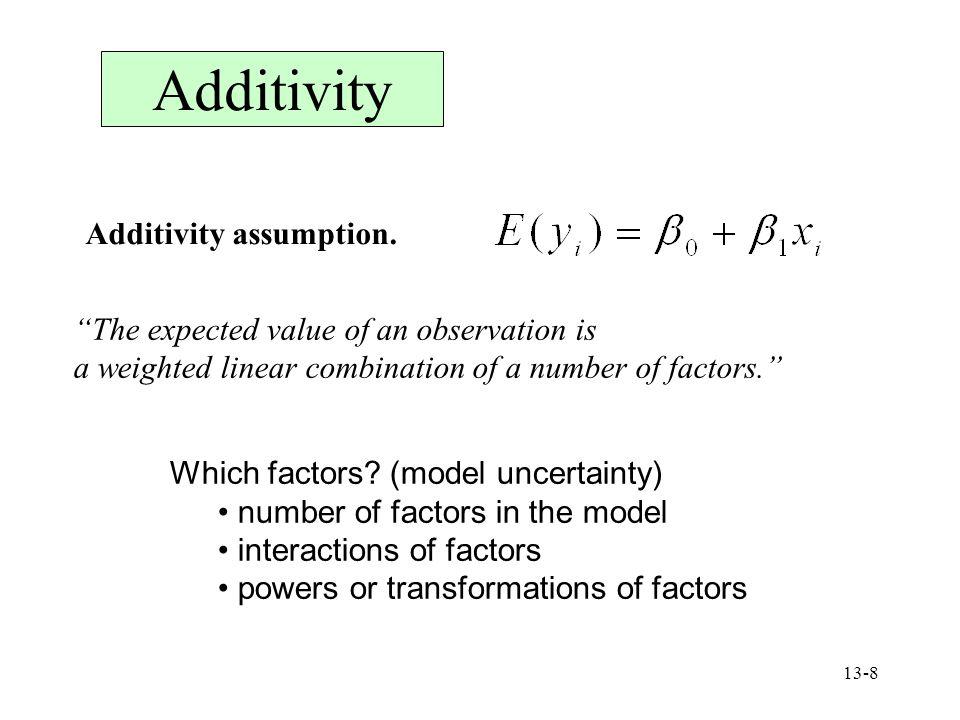 Additivity Additivity assumption.