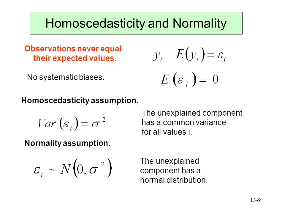 Homoscedasticity and Normality