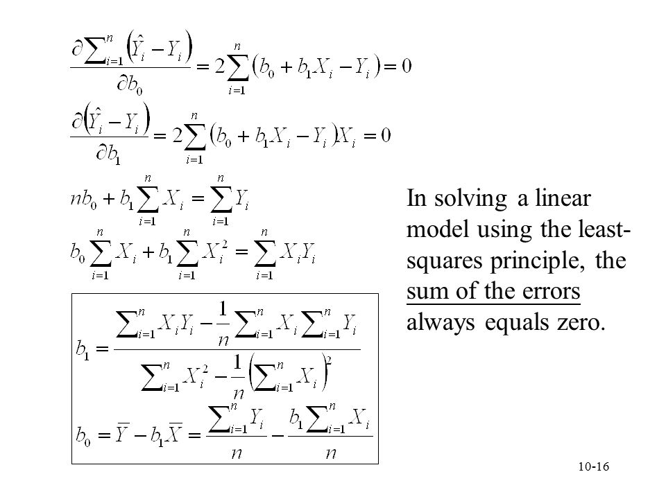 In solving a linear model using the least-squares principle, the sum of the errors always equals zero.