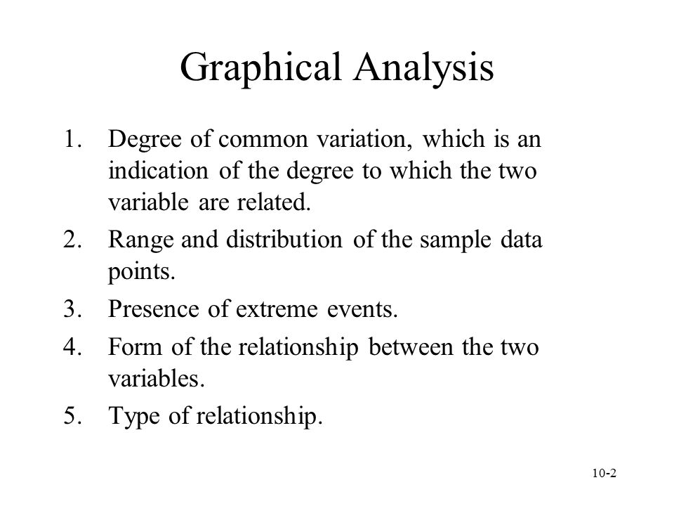 Graphical Analysis Degree of common variation, which is an indication of the degree to which the two variable are related.