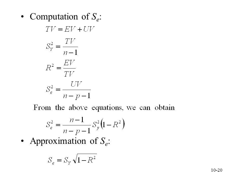 Computation of Se: Approximation of Se: