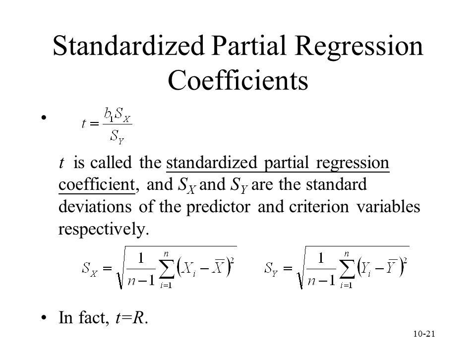 Standardized Partial Regression Coefficients